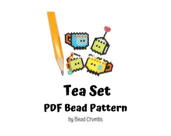 Bead Pattern Tea Cup and Tea Bag, Brick Stitch Cute Miyuki Charms, PDF Digital Download