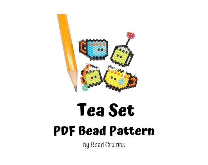 Bead Pattern Tea Cup and Tea Bag, Brick Stitch Cute Miyuki Charms, PDF Digital Download