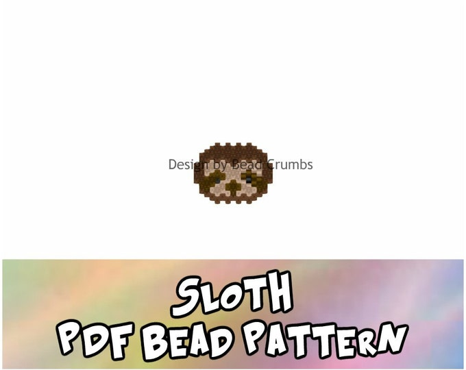 Sloth Bead Charm Pattern, Brick Stitch Beading - PDF Digital Download
