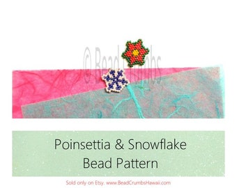 Christmas Beading Patterns : Poinsettia & Snowflake, Brick Stitch Bead Weaving Charms