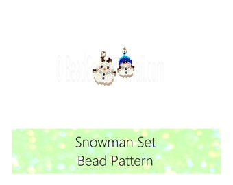 Brick Stitch Patterns: Snowman Set - Seed Bead Charms, Earrings, Pendants