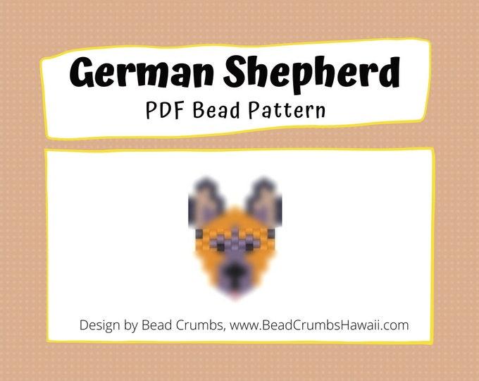 Bead Pattern German Shepherd Dog, Brick or Peyote Stitch Charm, Digital File