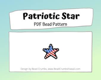 Bead Pattern Patriotic Star, Brick Stitch or Peyote Stitch Charms - Digital File