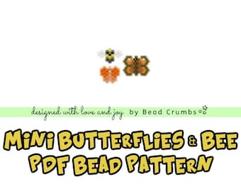 Brick Stitch Bead Patterns: Mini Butterflies and Bee Charms for DIY Jewelry, Stitch Markers, Bag Accessories