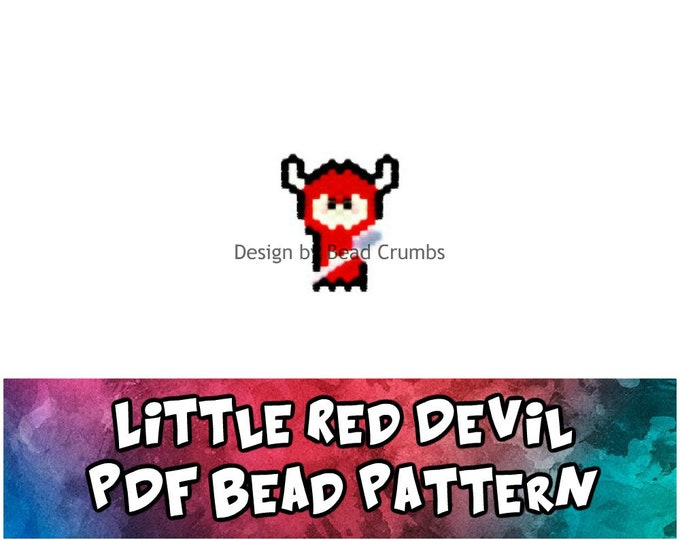Bead Pattern Cute Little Red Devil, Brick or Peyote Stitch Charm - Digital File