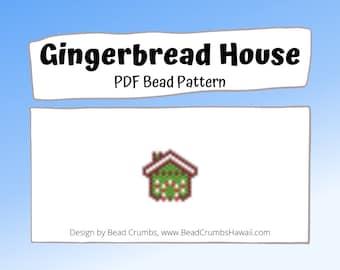 Gingerbread House Bead Pattern, Brick or Peyote Stitch Bead Weaving Miyuki Christmas Charm| Digital Download