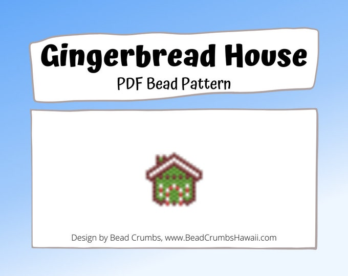 Gingerbread House Bead Pattern, Brick or Peyote Stitch Bead Weaving Miyuki Christmas Charm| Digital Download