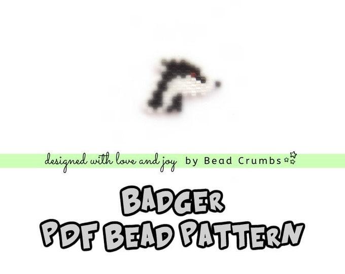 Badger Seed Bead Pattern, Brick Stitch Beading, Miyuki Delica Beaded Animal, PDF Digital Download
