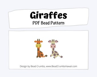 Brick Stitch Giraffes Beading PATTERN, DIY Cute Animal Seed Bead Charms, PDF Digital Download