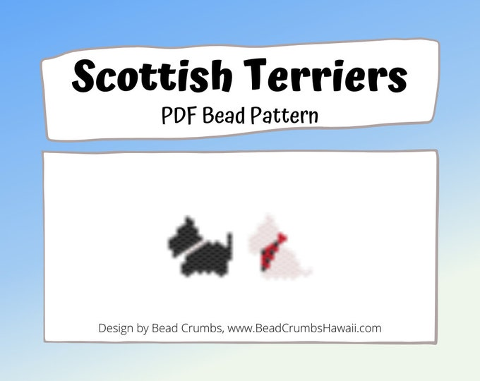 Scottish Terrier Dogs Brick/Peyote Stitch Bead PATTERN, Black and White Animals, DIY Craft Seed Bead Charm, PDF Digital Download