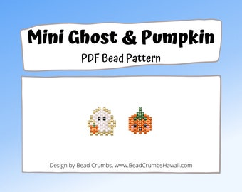 Mini Ghost and Pumpkin Halloween Brick Stitch Bead Pattern, Digital File