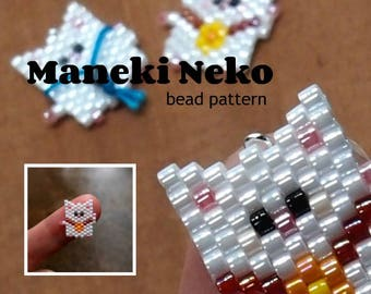 Maneki Neko Cat Brick Stitch Bead PATTERN | DIGITAL FILE