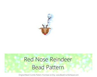 Red Nose Reindeer - Christmas Brick Stitch Beading Pattern | Printable Digital Download