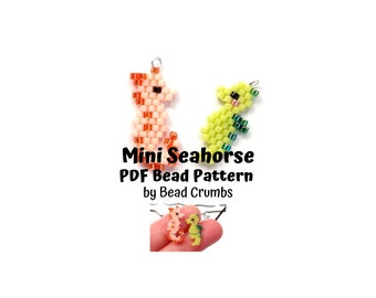 Mini Seahorse Brick Stitch Seed Bead Pattern, Beaded Charm - Earring - Pendant, PDF Digital Download