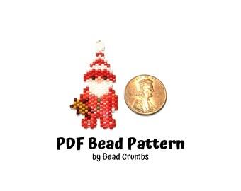 Sleepy Santa Claus Beading PATTERN, Cute DIY Brick Stitch Christmas Charm, PDF Digital Download P2145986