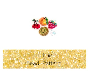 Brick Stitch Fruits: Cherries, Kiwi, Strawberry, Apricot Bead PATTERNS | Printable Digital Download