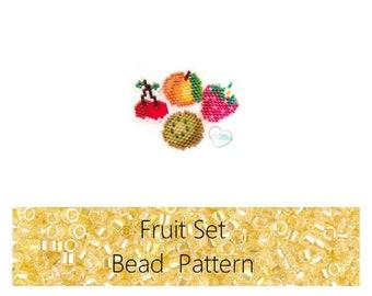 Brick Stitch Fruits: Cherries, Kiwi, Strawberry, Apricot Bead PATTERNS | Printable Digital Download