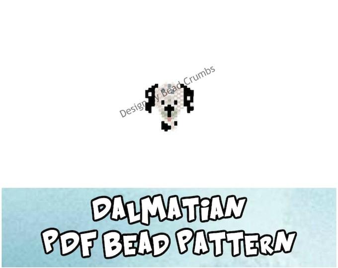 Dalmatian Dog Brick Stitch Seed Bead Animal PATTERN, Digital Download