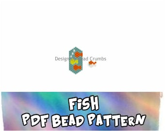 Peyote / Brick Stitch Bead Pattern: Fish Charm, Pendant, Jewelry Component, PDF Digital Download