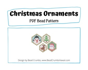 Bead Pattern Mini Christmas Jewelry Ornament Charms, Brick Stitch Snowman Santa Claus, Christmas Tree Reindeer, PDF Digital Download