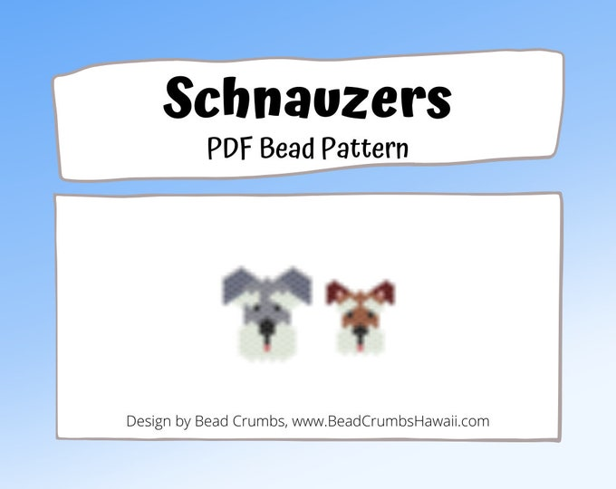 Schnauzer Dogs Brick/Peyote Stitch Animals Bead PATTERN, DIY Craft Seed Bead Charm, PDF Digital Download