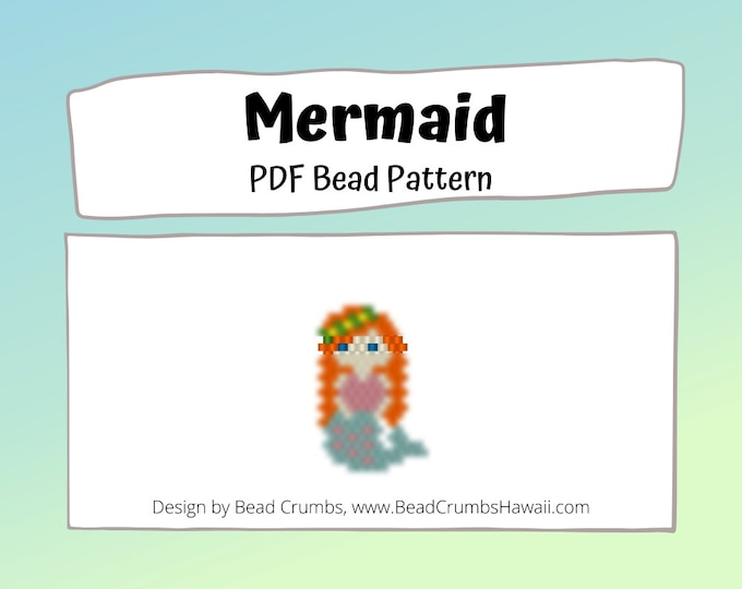 Mermaid Brick/Peyote Stitch Bead PATTERN, DIY Craft Seed Bead Charm, PDF Digital Download