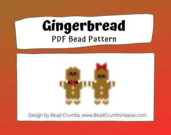 Gingerbread Bead Pattern, Peyote or Brick Stitch Beading, Christmas Miyuki Charms - Digital Download