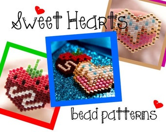 Hearts Brick Stitch Bead PATTERNS (Chocolate Covered, Strawberry & Candy Sprinkles) | DIGITAL DOWNLOAD