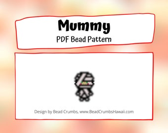 Halloween Mummy Bead Pattern | Peyote or Brick Stitch DIY Charm | Digital File