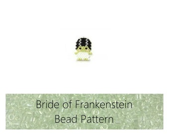 Bride of Frankenstein Brick Stitch Bead PATTERN | Printable Digital Download