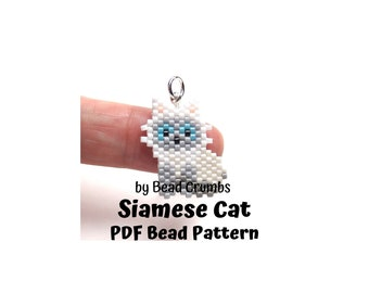 Siamese Cat Bead Pattern, Brick Stitch Miyuki Animal Charm, PDF Digital Download - P2156675
