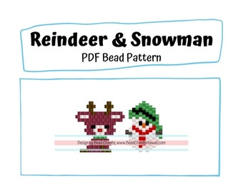 Reindeer and Snowman Brick Stitch Bead PATTERNS, DIY Christmas Craft, Cute Jewelry Charms, PDF Digital Pattern