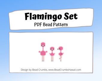 Pink Flamingo Bird Set Bead Pattern, Animal Brick or Peyote Stitch Beading | DIGITAL DOWNLOAD