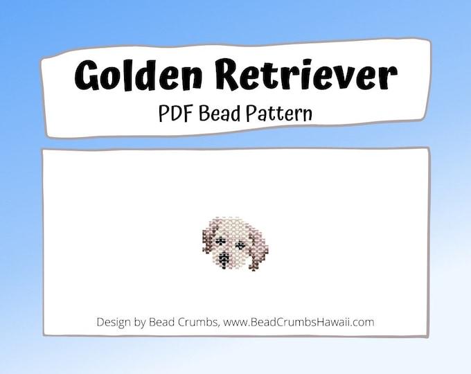 Bead Pattern Golden Retriever Puppy, Brick Stitch Dog Charm, PDF Digital Pattern