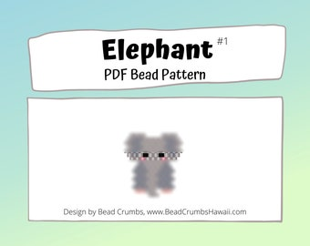 Elephant Brick/Peyote Stitch Bead PATTERN, DIY Craft Seed Bead Charm, PDF Digital Download (#1)