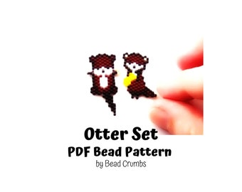 Bead Pattern Otter Set, Brick Stitch Miyuki Charms, PDF Digital Pattern