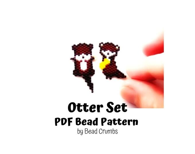 Bead Pattern Otter Set, Brick Stitch Miyuki Charms, PDF Digital Pattern