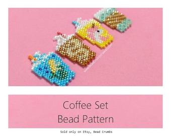 Brick Stitch Coffee Set Beading Patterns: Mermaid-Unicorn-Mocha Frappuccino, Hot Coffee
