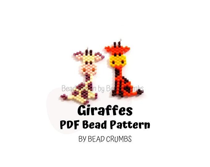 Brick Stitch Giraffes Beading PATTERN, DIY Cute Animal Seed Bead Charms, PDF Digital Download