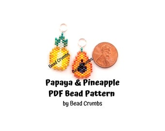 Bead Pattern Papaya and Pineapple Brick Stitch, Tropical Fruit Charms, PDF Digital Pattern