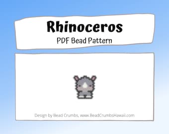 Rhinoceros Brick or Peyote Stitch Bead Pattern, Animal Seed Bead Charm, PDF Digital File