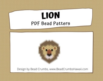 Lion Brick Stitch Bead Patterns, Miyuki Delica Seed Bead Animal, PDF Digital Download