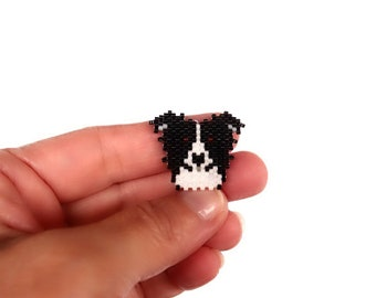 Border Collie Dog Brick Stitch Bead Pattern (Large)