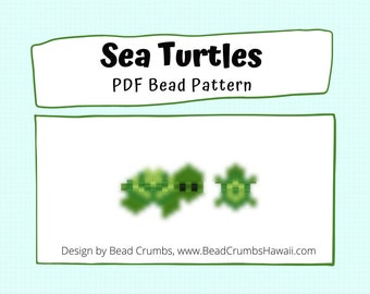 Brick Stitch Bead Pattern: Sea Turtle Charms, PDF Digital Download