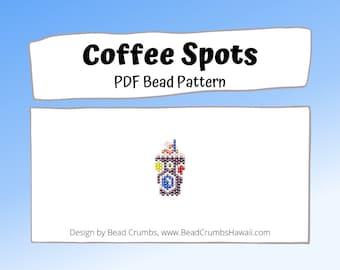 Bead Pattern Coffee Drink Charm, Dotted Cup, Seed Bead Brick/Peyote Stitch, PDF Digital Pattern