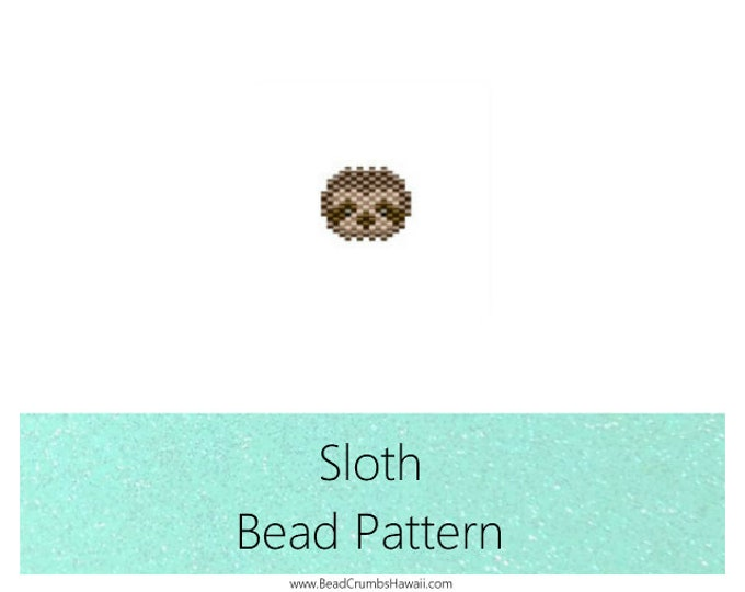 Featured listing image: Sloth Brick Stitch Animal Bead PATTERN | Printable Digital Download