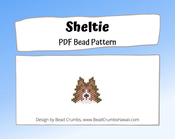 Bead Pattern Sheltie, Shetland Sheepdog, DIY Brick Stitch Animal Charm, PDF Digital Pattern