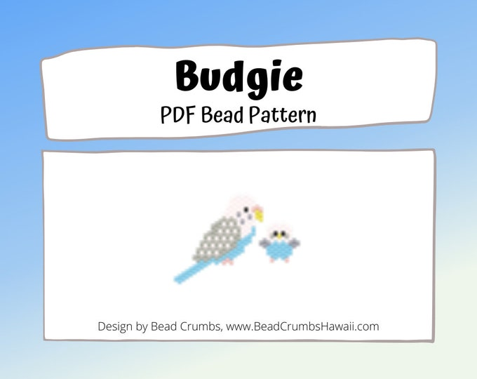 Budgie Parakeet Brick/Peyote Stitch Bird Bead PATTERN, DIY Craft Seed Bead Charm, PDF Digital Download