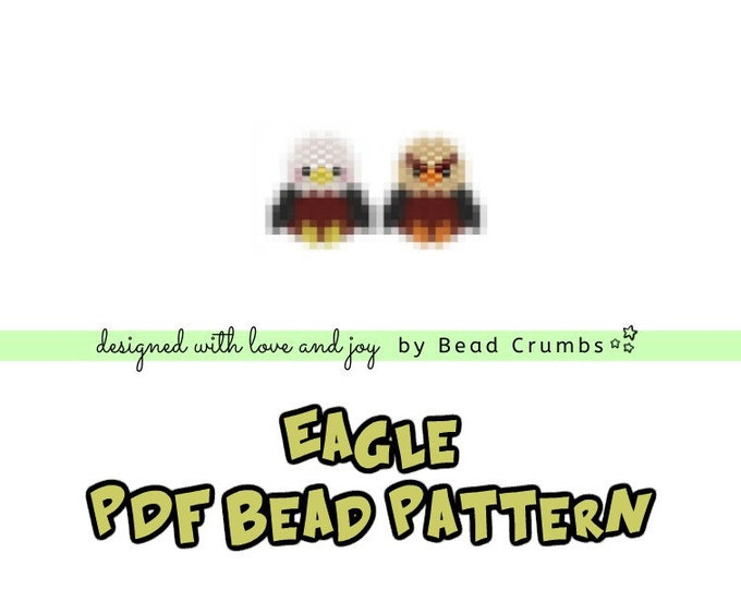 Eagle Seed Bead Patterns, Brick Stitch Beading, Miyuki Delica Beaded Birds, PDF Digital Download