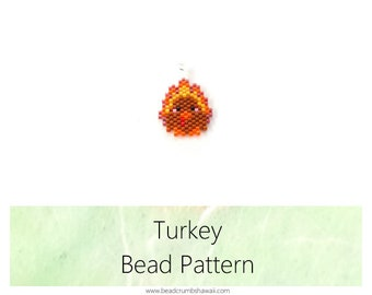 Thanksgiving Turkey Beading Pattern, Seed Bead Jewelry : Earrings, Charm, Pendant